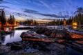 Картинка город, река, ночь