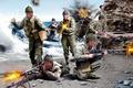 Картинка британские коммандос, оружие, арт, взрывы, WW2, стрельба, берег, экипировка, море, высадка, рисунок, раскраска, British Commandos