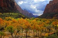 Картинка тучи, небо, осень, горы, деревья
