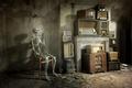 Картинка комната, радиоприёмники, скелет, стул