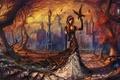 Картинка лестница, арт, деревья, книга, листья, город, птицы, ступеньки, девушка, ворон, фонарь, осень, перила