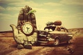 Картинка часы, дорога, авария, попугай, ананас, машина, Ладонь, кот