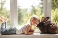 Картинка окно, кролик, любовь, настроение, на подоконнике, дружба, друзья, мальчик