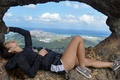 Картинка девушка, отдых, панорама, лежит