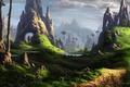 Картинка арт, лошади, кони, замок, заяц, фантастический мир, пейзаж, скалы, всадники, река, камни, Fel-X