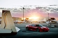 Картинка солнце, закат, красный, тюнинг, суперкар, ferrari, аэродром, f430, tuning, передок, самолёты, ф430, ферарри
