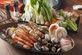 Картинка морепродукты, моллюски, креветки, овощи