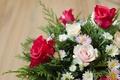 Картинка лепестки, розы, букет, листь