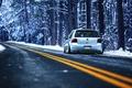 Картинка R32, лес, зима, разметка, MK4, Volkswagen, дорога