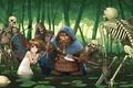 Картинка лес, гном, топор, фэнте, скелет, защитник, девочка