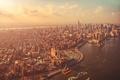 Картинка Manhattan, тучи, New York City, город, волны, вода, небо, здания