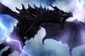 Картинка молнии, дракон, крылья, полёт, art, Skyrim, The Elder Scrolls V, by TheRisingSoul, Alduin
