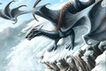 Картинка Дракон, зима, горы, лавина, фентези