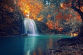 Картинка red, golden, forest, Thailand, trees, sunset, beautiful, autumn, waterfall, turquoise, tropical, sun rays, roots