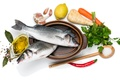 Картинка зелень, лимон, рыба, овощи, специи