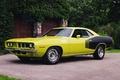 Картинка hemi, muscle car, чёрно, ворота, Plymouth, кустарник, жёлтый, yellow black, Плимут, вид сбоку, 1971, ограждение, ...