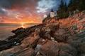 Картинка штат Мэн, гавань, национальный парк, вечер, маяк, скалы, закат, США