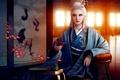 Картинка комната, ширма, ветка, азия, арт, журавли, кимоно, цветок, окна, рисунок, девушка, mario wibisono, пиала