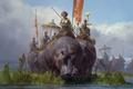 Картинка отряд, Tianhua Xu, арт, фентези, бегемот, поход