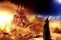 Картинка Фентези, маг, дракон, замок, вечер