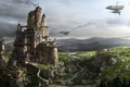 Картинка корабли, город, kingdom under fire, замок, дым, крепость, скалы, река