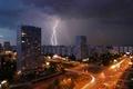 Картинка Москва, молния, дома, дорога, огни, вечер