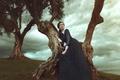 Картинка Девушка, природа, деревья, лицо, платье, волосы