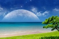 Картинка дерево, планеты, Океан, небо, трава, пляж, облака