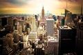 Картинка закат, город, небоскребы, USA, америка, сша, New York City, нью йорк