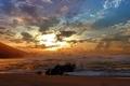 Картинка Закат, волны, облака