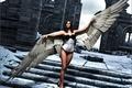 Картинка взгляд, рендеринг, лестница, крылья, девушка, ангел, волосы
