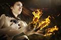 Картинка пламя, руки, девушка, Burnout, огонь