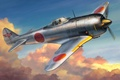 Картинка WAR, aviation, WW2, painting, Nakajima Ki-44 Shoki (Tojo), art