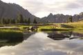 Картинка небо, трава, вода, деревья, пейзаж, горы, природа, река, камни
