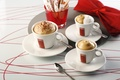 Картинка кофе, чашки, сахар, напиток, пенка, салфетка, блюдца, ложки