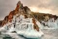 Картинка озеро, камни, лёд, Байкал