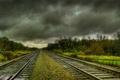 Картинка Железная, дорога, облака, мрак