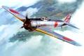 Картинка Nakajima Ki-43 Hayabusa, арт, японский, WW2, (Тип 1), одноместный истребитель, армейский, рисунок, небо