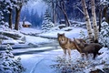 Картинка животные, снег, зима, хижина, волк, живопись, George Kovach, волки, Return to Cabin Creek, река домик, ...