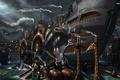 Картинка корабль, арт, дельфин, ship, дождь, вода, ночь, steampunk
