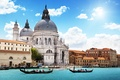 Картинка гондолы, Venice, Италия, архитектура, люди, город, море, собор, канал, Санта-Мария делла Салюте, Венеция, небо, облака
