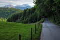 Картинка горы, road, дорога, Nature, зелень, поле, trees, green, лес, scenery, forest, природа, mountain, деревья, трава, ...