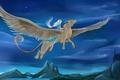 Картинка крылья, арт, грифон, полет, девушка, небо, фантастика, звезды, белые волосы, существо