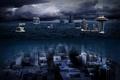 Картинка tower, Space Needle, city, город, Seattle, море, Underwater, Вашингтон, башня, ночь, night, Сиэтл, Спейс-Нидл, Сиэттл, ...