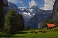 Картинка summer, grass, trees, mountains, Alps, barn, cows