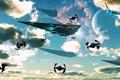 Картинка флот, небо, корабли