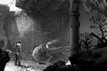Картинка человек, развалины, руины, колонна