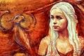 Картинка Emilia Clarke, Daenerys Targaryen, арт, блондинка, Игра Престолов, Эмилия Кларк, Game of Thrones, дракон, рисунок