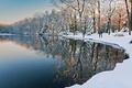 Картинка озеро, парк, свидание, зима
