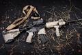 Картинка gun, logo, weapon, leaves, rifle, konoha, AR-15, ammunition, AR 15, bandolier, semi-automatic, tactical flashlight, Sylver ...